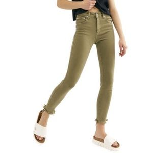 NWT Free People High Rise Jegging Raw Army